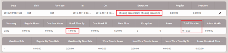 How to calculate exact worktime/breaktime for devices without T&A